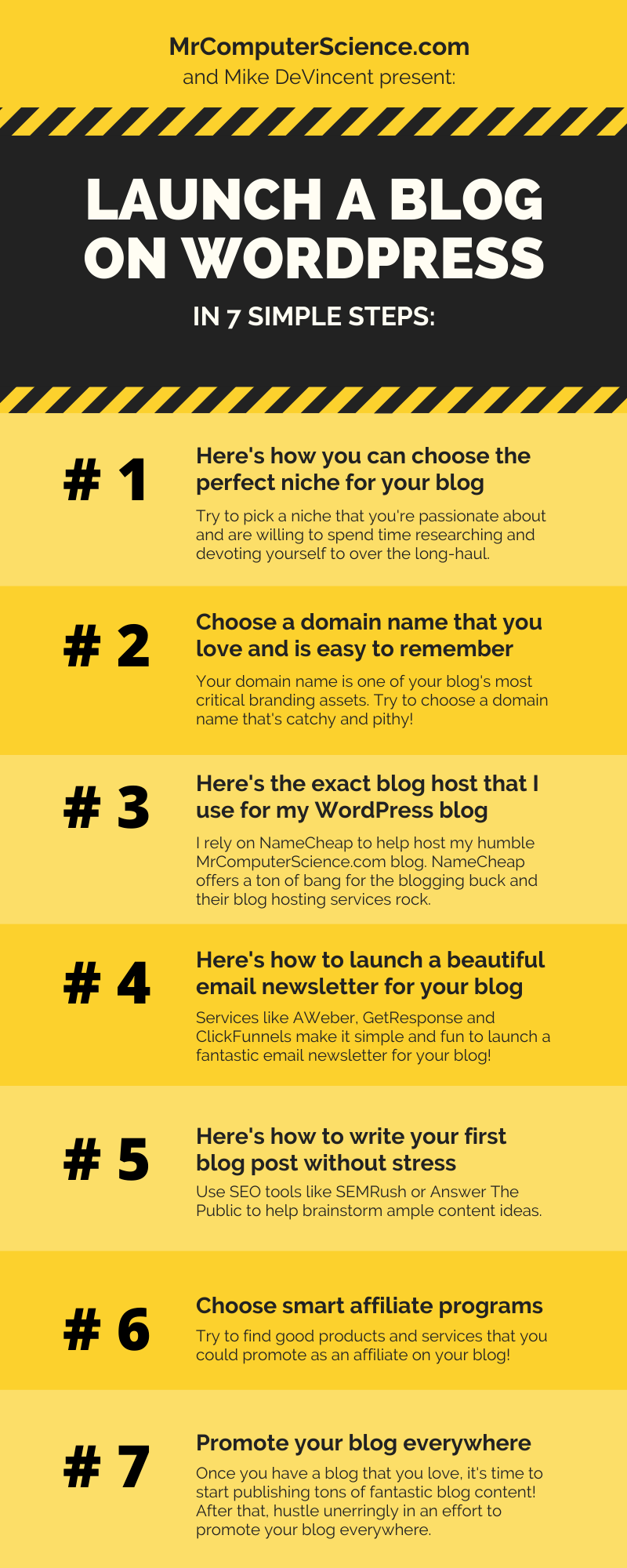 Infographic - How To Launch A Blog On WordPress Successfully Without Stress In 7 Simple Steps