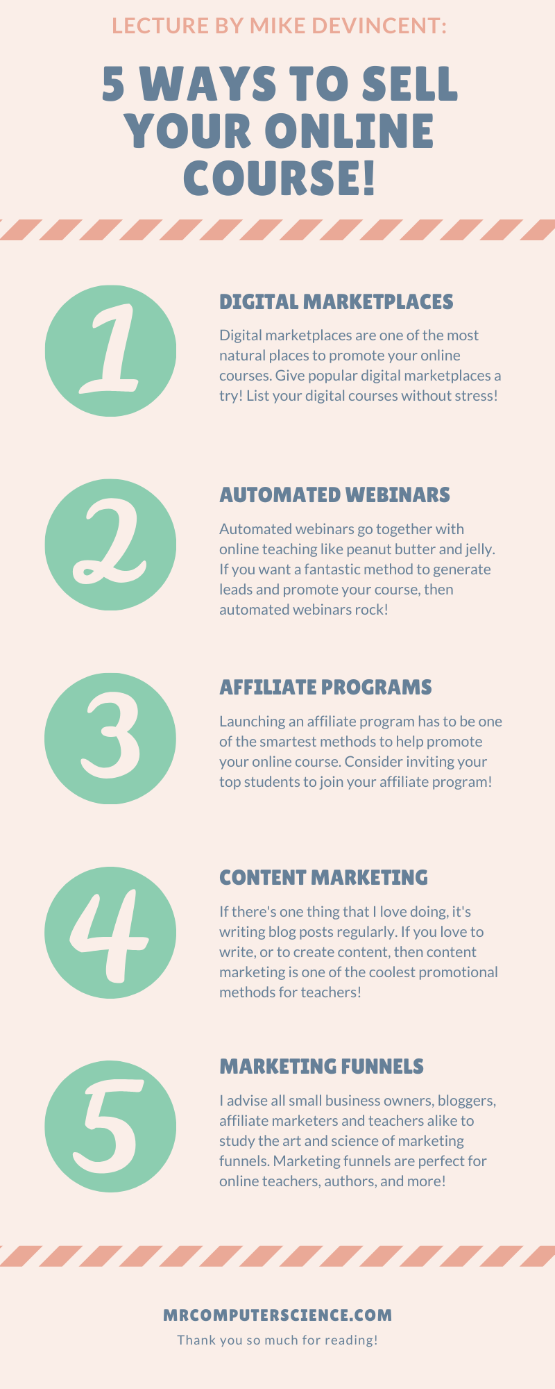 MrComputerScience.com Infographic - 5 Elite Ways To Help Sell Your Online Course Without A Big Budget!